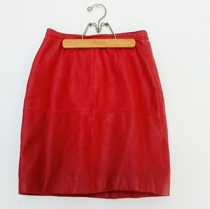 Lipstick Red Leather 80s Mini Skirt xs